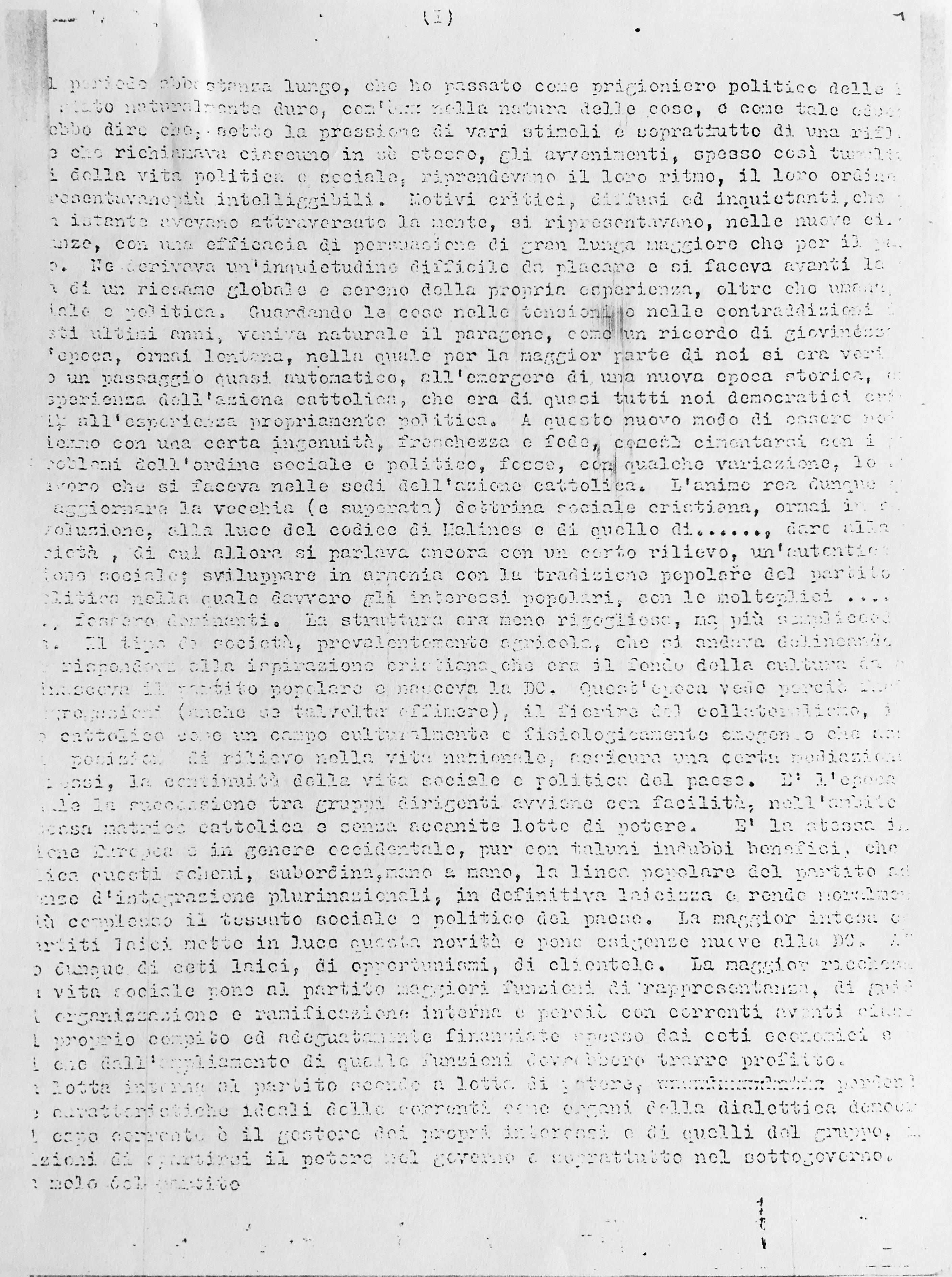 Prima pagina dattiloscritto
